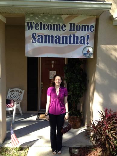 Samantha welcome home sign